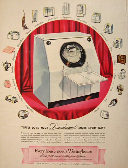 All washed up the american laundromat d foy 1947 westinghouse laundromat washing machine ad solutioingenieria Choice Image